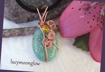 Turquoise Wrapped Pendant Necklace