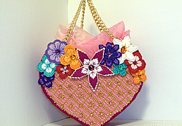 Pink and Gold Heart shaped tote bag