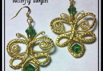 Wire wrap weave Butterfly dangle earrings