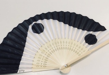B&W Waves Hand Painted Hand Fans