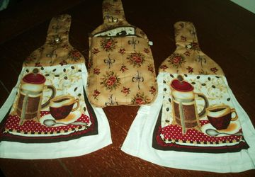 Coffee Design 5 Piece Hanging Towel Kitchen Gift Set Quilted Cotton Tops