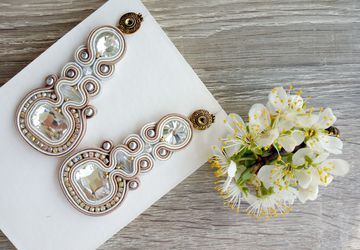 White and beige soutache earrings, Crystal earrings, Unique jewelry, Wedding gift, Dangle earrings, Women's gift idea