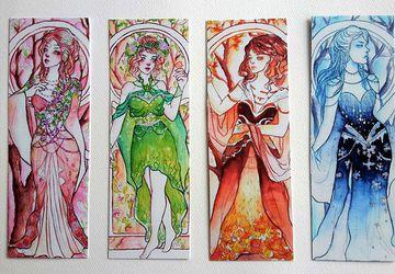 Art Noveau Four Seasons Bookmarks