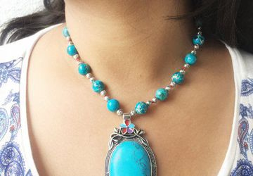 Faceted howlite mala rare December birthstone necklace Turquoise chunky statement necklace