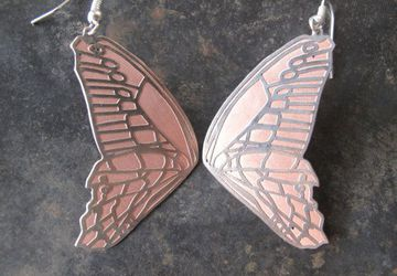 Butterfly Effect! Beautiful Copper and Silver Butterfly Wing Earrings,Metal Jewellery,Nature Jewellery