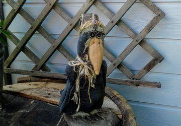 Primitive Crow - Primitive Fall Decor - Halloween Decor - Old Crow - Primitive Decor - Fall Decor - Handmade Doll - Primitive Doll - Crow -
