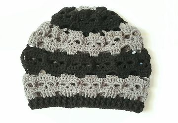 Skulls Slouch Hat - Black And Pewter Gray
