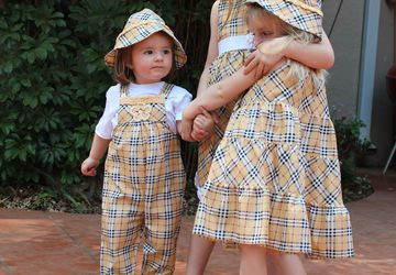 Checkered wide skirt dress with sash and matchig hat Age 3 - 4