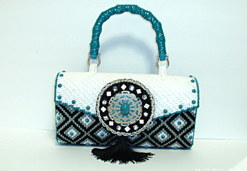White,Black and Turquoise Bargello Clutch