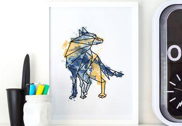 Wolf print, wolf art