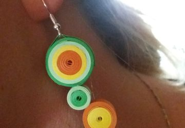 Modern earrings, paper quilling, Color circle