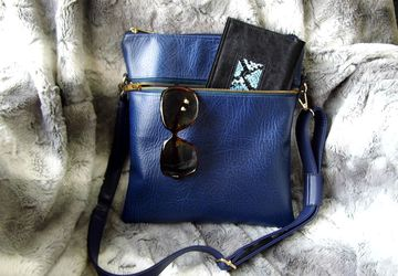 Blue cross body bag, Vegan leather crossbody bag, Satchel handbag, Royal blue shoulder handbag, Faux leather, Gift for her