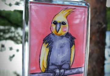 Yvonne 2x3 Photo Keychain | Cute Cockatiel | Each Copy is Handpainted | Perfect For Bird Lovers | Back to School Accessory