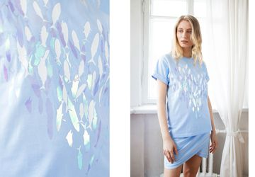 Baggy style t-shirt with fishes