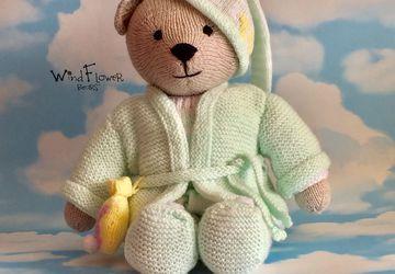 Hand knitted one of a kind teddy bear - Blanketflower.