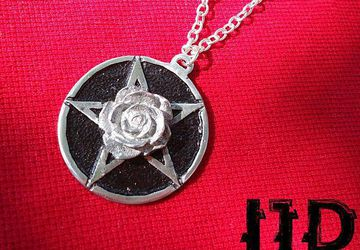 Pentagram Rose Necklace Pendant - Satanist Necklace - Wiccan Necklace - Rose Pendant - Witch Jewelry - Rose Medallion - Flower Pendant