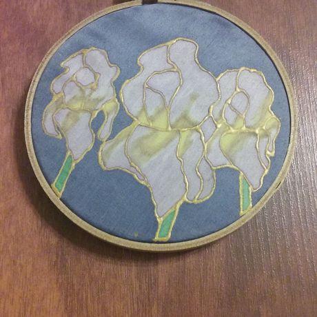 garden handmade painting wall iris art flower decor silk