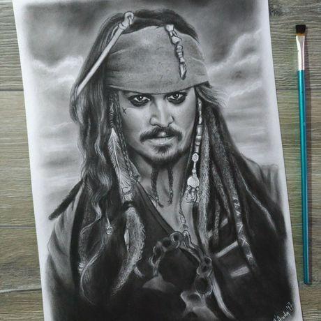 customportrait drawing pirate present jacksparrow gift moviedrawing artwork