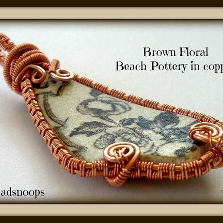 vintage copperpendant beachpottery oceanfinds beachtile vintagepottery brownpottery beadsnoops wirewrapweave beachtreasures