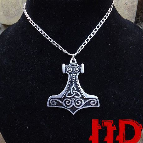 pagan pendant silver viking thor hammer nordic medallion ornament necklace jewelry celtic