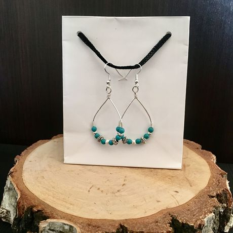 earrings dangle hooped silver wirewrapped wrapped boho sterling bohemian beaded hoop turquoise wire