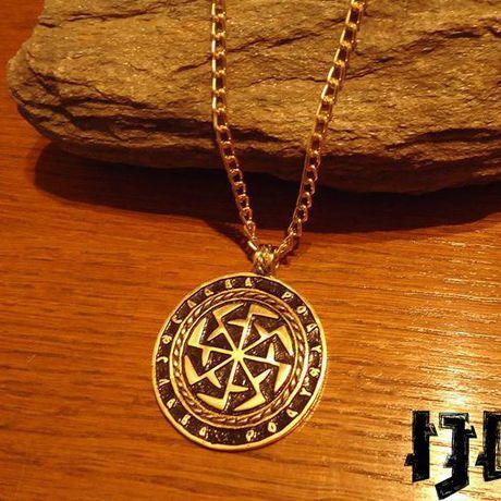 pagan golden pendant slavic kolovrat paganism medallion mythology gods gift necklace tribal rod