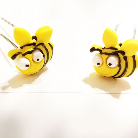 hairjewelry hairpin yellow kriszcreations uniquegifts giftsforher bees