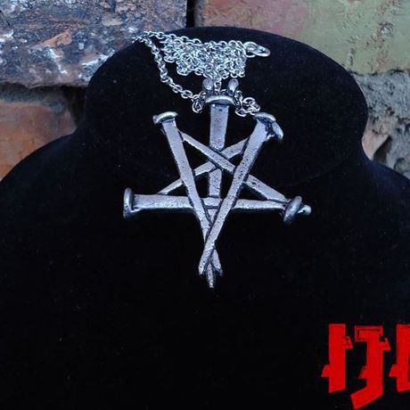gothic satanic medallion nails lucifer satan pentagram crucifix necklace jewelry