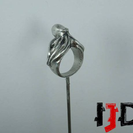 pagan silver gothic ring octopus cthulhu demon jewelry