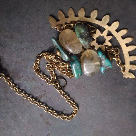 gemstone pendant citrine boho bohemian turquise necklace jewelry metal brass