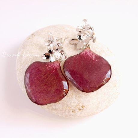 earrings handmade jewelry rosepetals stud