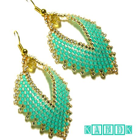mint leaves earrings kandk