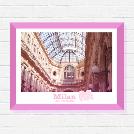 cityscape print city italy milan gift photography art pink travel digital