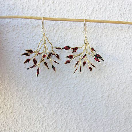 earrings mom for leaf gift unique red twig branch