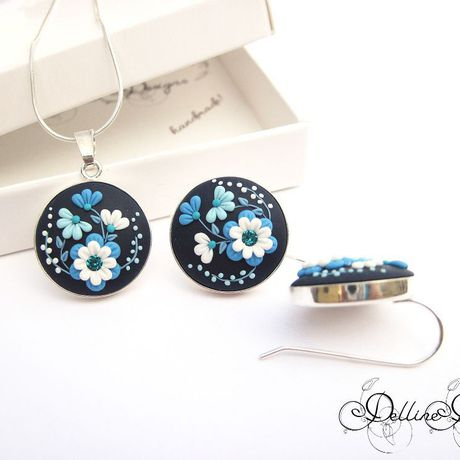 earrings pendant handmade silver clay blue rhinestones polymer filigree present applique sterling swarowski unique set jewelry floral