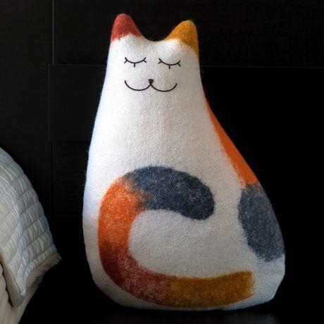 felt cushion bedroom threecoloured cat interior