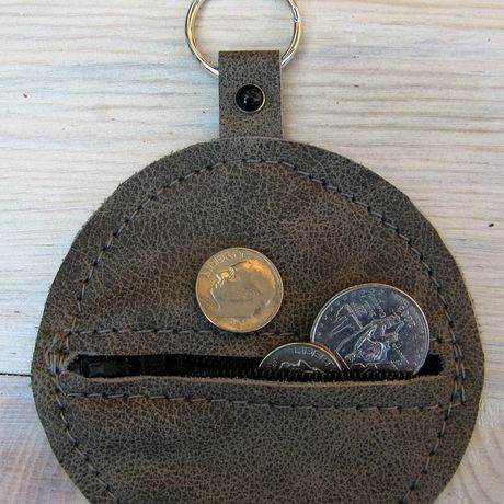 purse earbud zip leather genuine pouch gray chain coin key