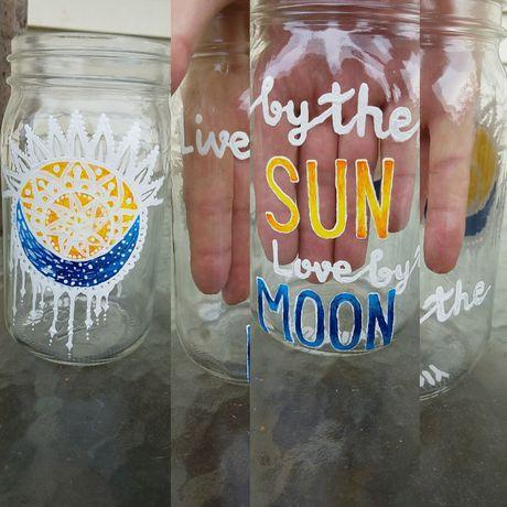 handpainted handmade candle candleholder mason storage custom jar