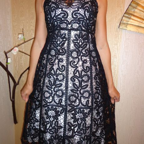 knitting black dress clothes lace bobbines