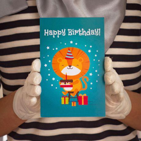 present postcard gift handmade kraft birthday lion