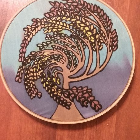 handmade painting wall art decor tree silk
