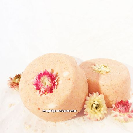vegan organic spa orange forher crueltyfree flowerbath setof3 giftset homewellness jasmine bathbomb gift skincare flower pink