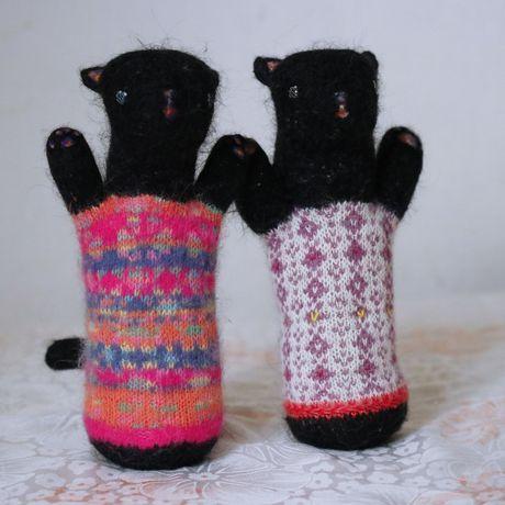 knitted animal toy felting black sculpture lover needle soft orgonite plush stuffed cat kitty design