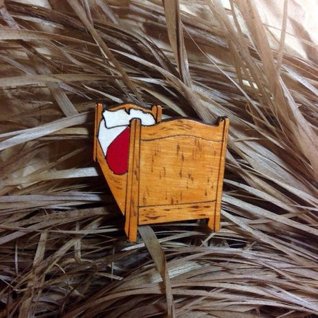 brooch wooden bedroom pin vangogh