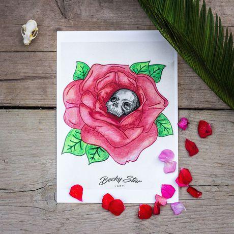 art rose prints skull