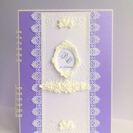 photo wedding handmade white violet album