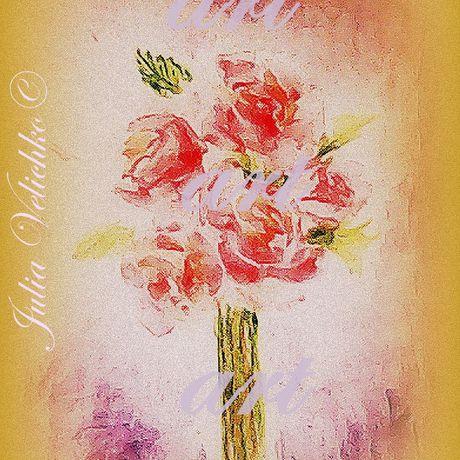 art bouquet roses watercolor