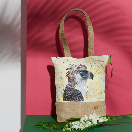 handpainted birds canvas organic fauna philippine agila pouches totes summer bags cotton nature eagle handcrafted