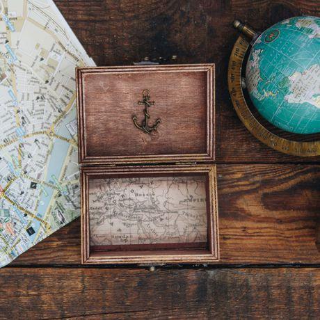 wooden map decoration wood box traveler travel