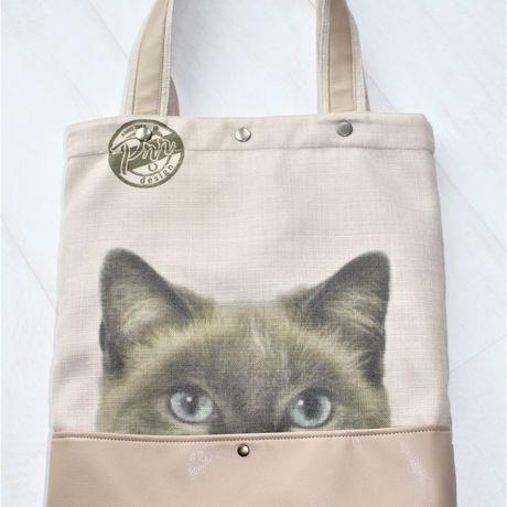 big handmade handbag daily everyday shopping gift bag tote cat